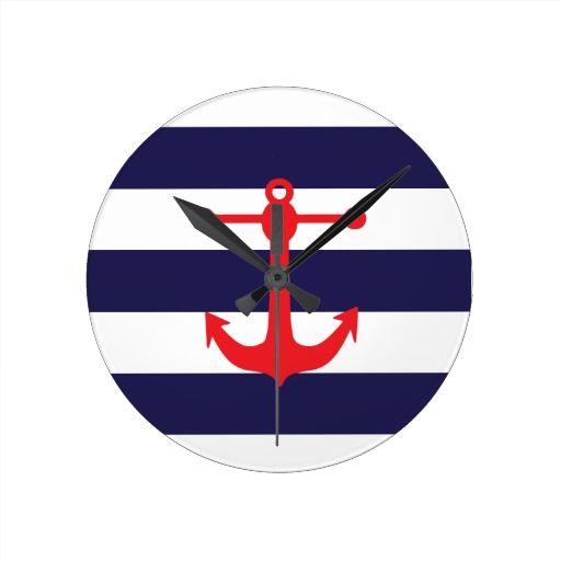 Navy & Red Nautical Pattern Round Clock