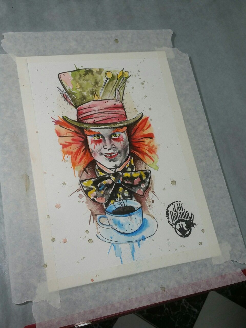 Chapeleiro Maluco Chapeleiro Aquarela Watercolour Drawing