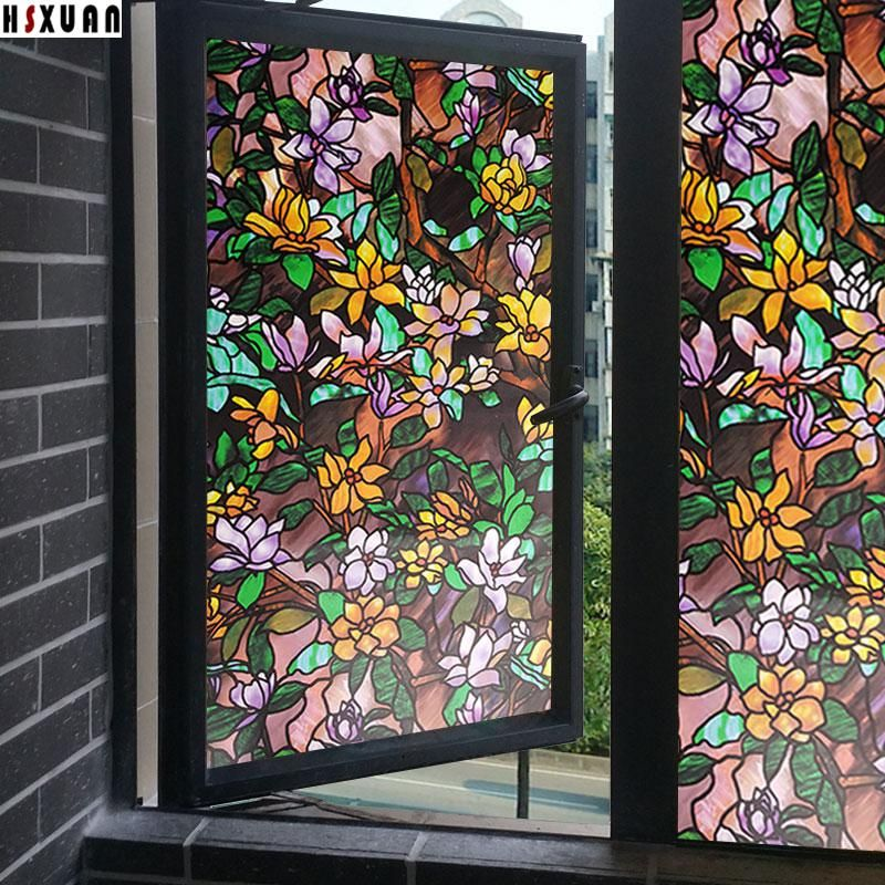 Decal Decorative Window Films 50x100cm 19 7x39 3in Frosted Pvc Self Adhesive 3d Flower Tin Stained Glass Window Film Decorative Window Film Stained Glass Decor