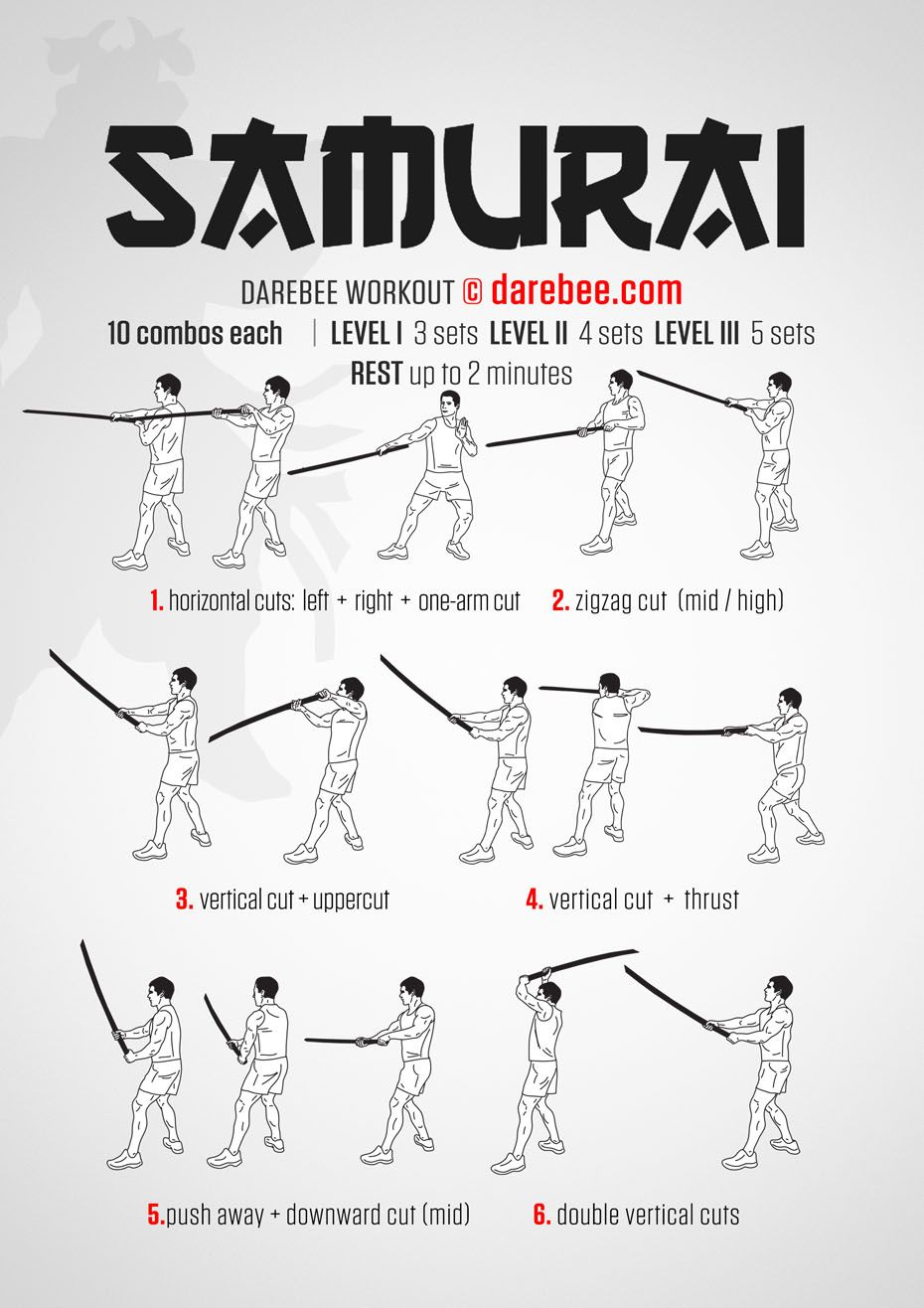 There is just never a single move that will take down a Samurai. Won't even come close, which is why in the Samurai workout, part of Darebee's Katana Week, you get to practice two-three…