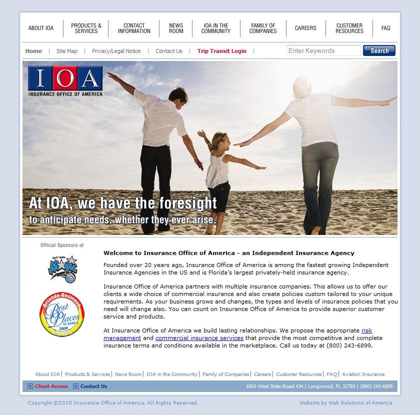 Insurance Office Of America Business Insurance Insurance Web Design