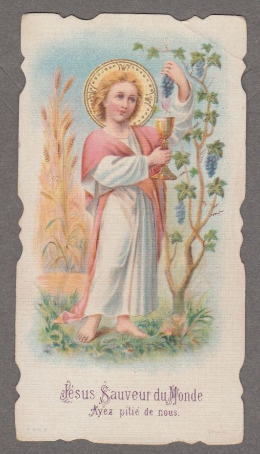 "CHILD JESUS "" Savior of the world""  antique holy card die cut"