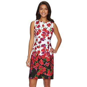bb2f75c5d52 Petite Chaps Floral Sateen Sheath Dress