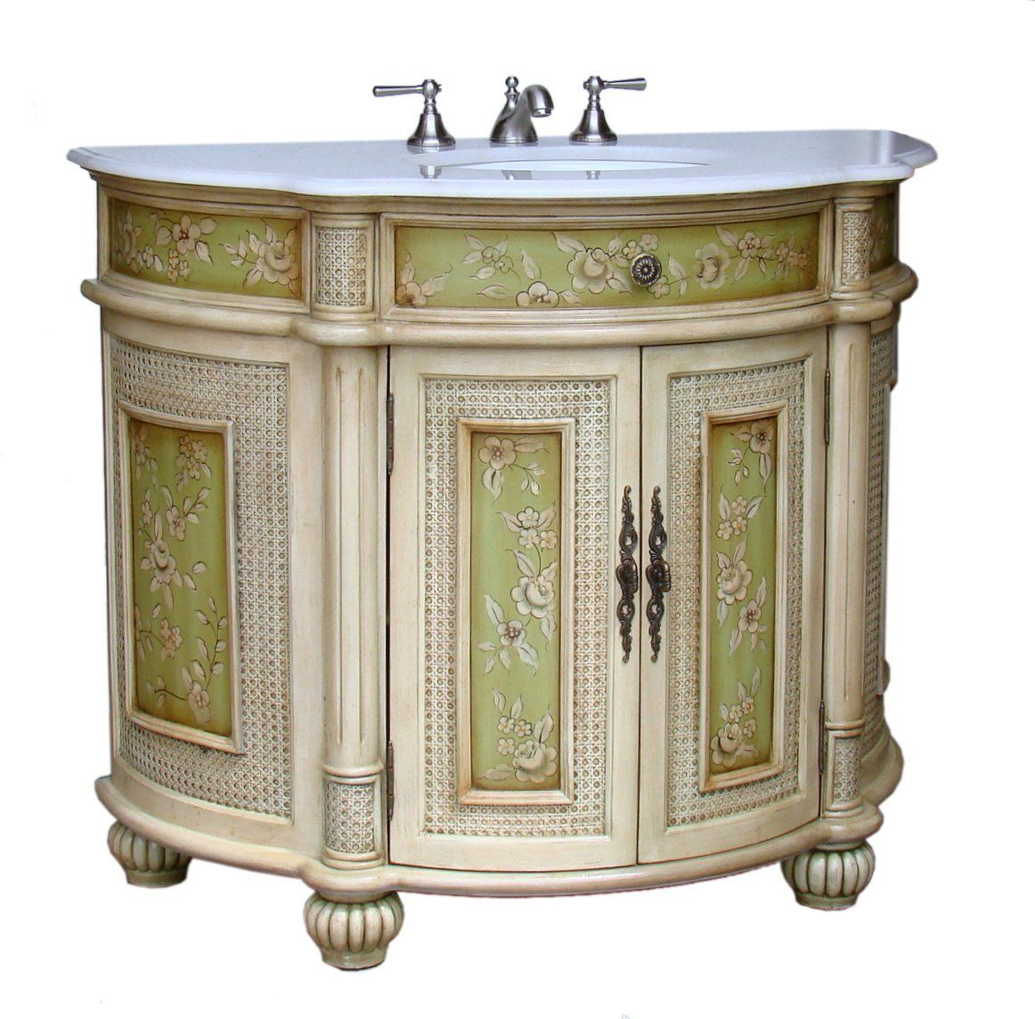 41 Inch Adelina Antique Hand Painted Bathroom Vanity Painted Vanity Bathroom Floral Bathroom Painted Bathroom