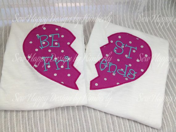 Set of 2 Split heart BEST FRIENDS Shirts by SewHapDesign on Etsy