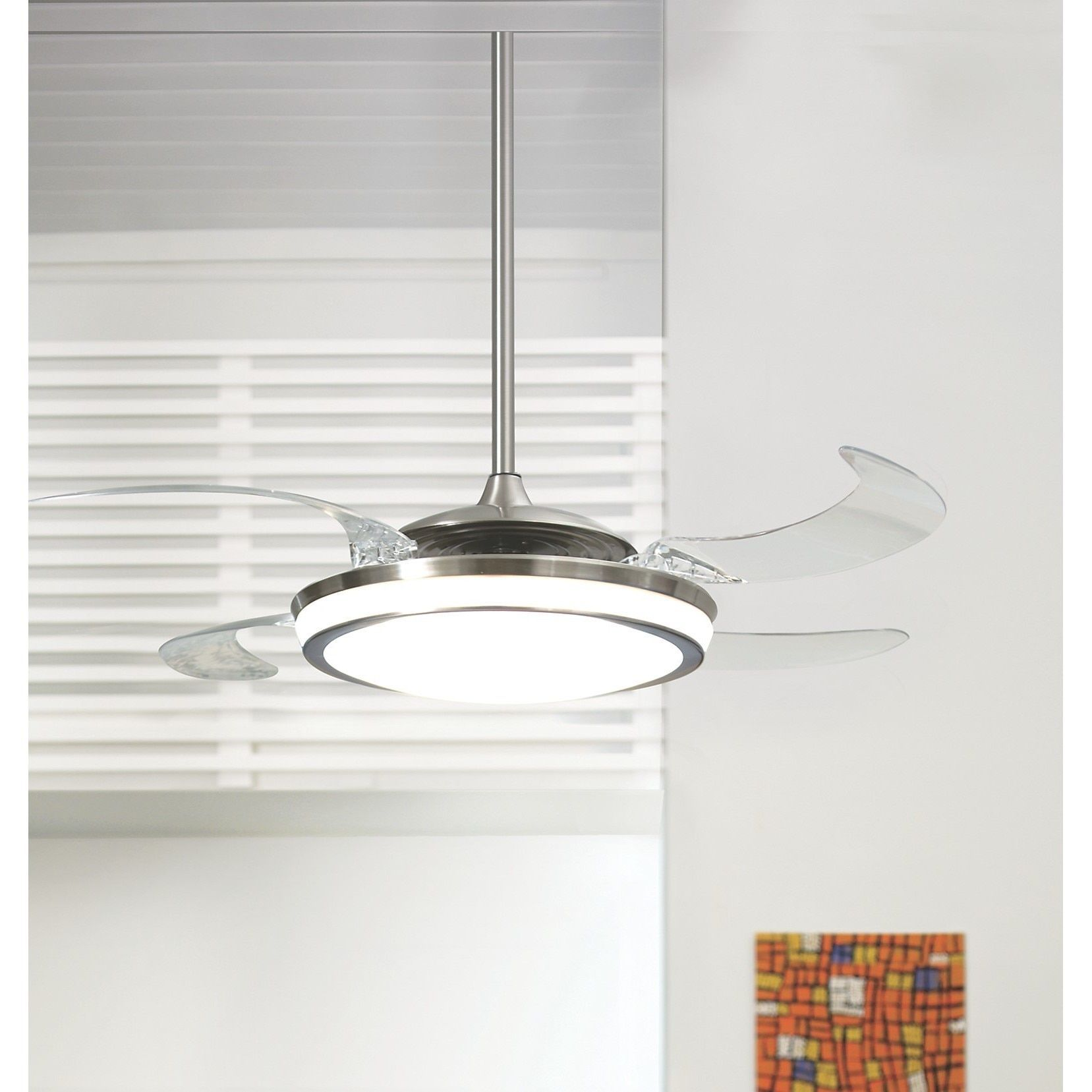 Hunter Fan Fanaway Brushed Chrome with 5 Clear Blades 48 inch