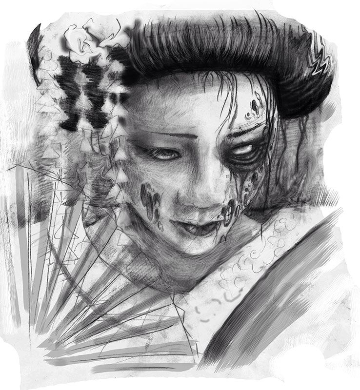 Zombie Pencil Geisha Geisha Art Japanese Tattoo Art Scary Art
