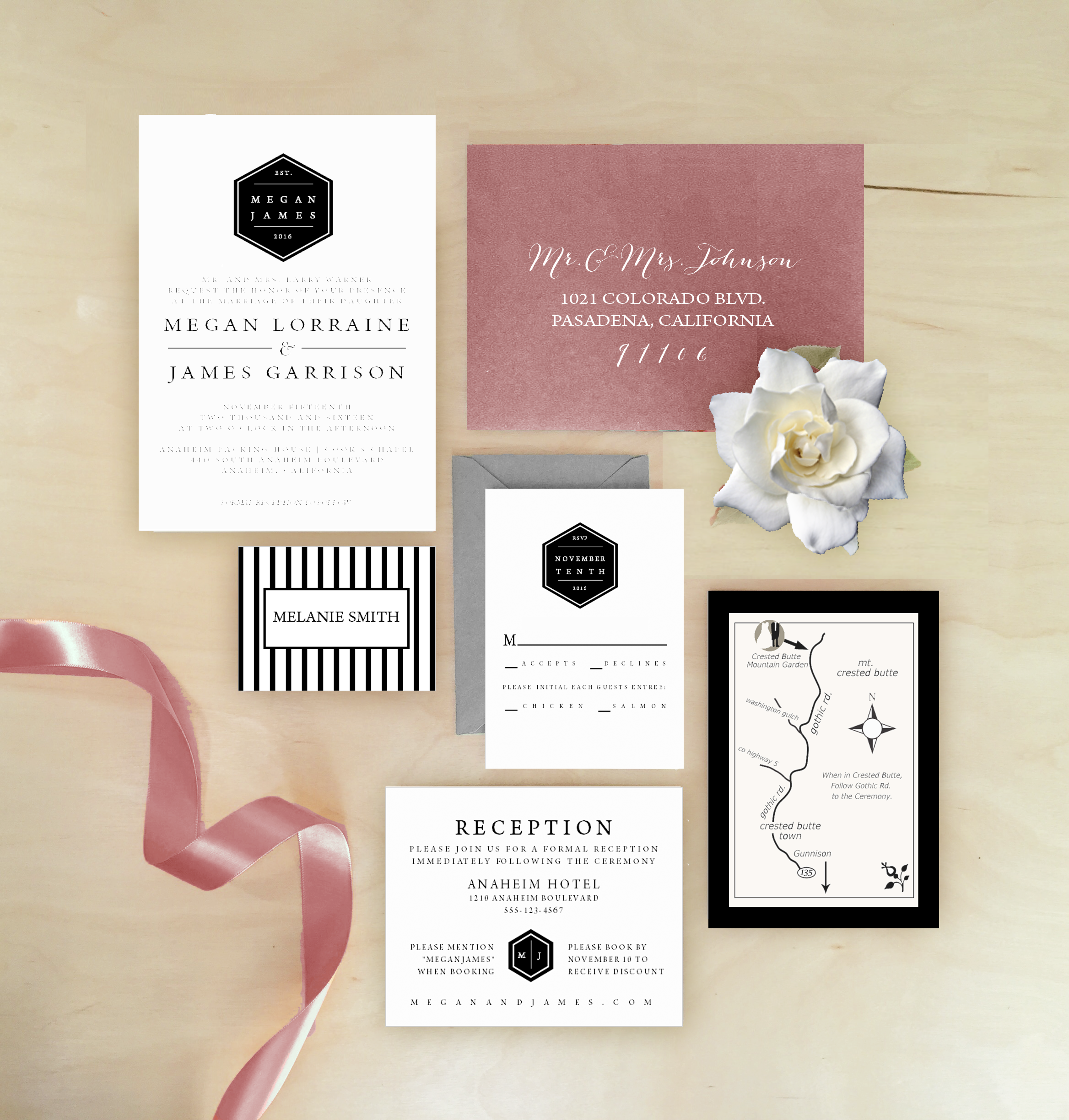 Modern Elegant Rustic Black White Hexagon Wedding