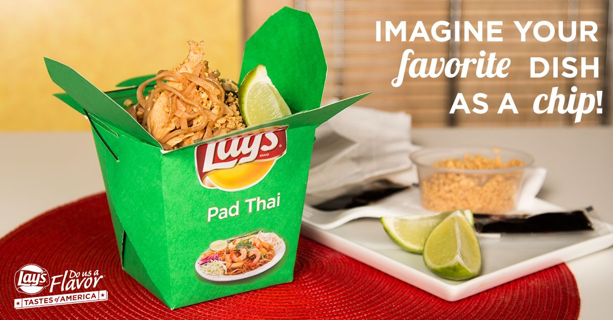 Your favorite food could become Lay's next kettle cooked, original, or wavy chip! Don't see your dish? Submit your tasty flavors and make it happen for a chance at $1 million! See Rules. www.DoUsAFlavor.com