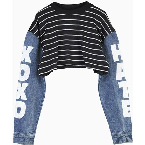 d618b4e72e5 Choies Black Stripe Crop Top with Contrast Denim Sleeves ($11) found on Polyvore  featuring women's fashion, tops, black, striped crop top, striped top, ...