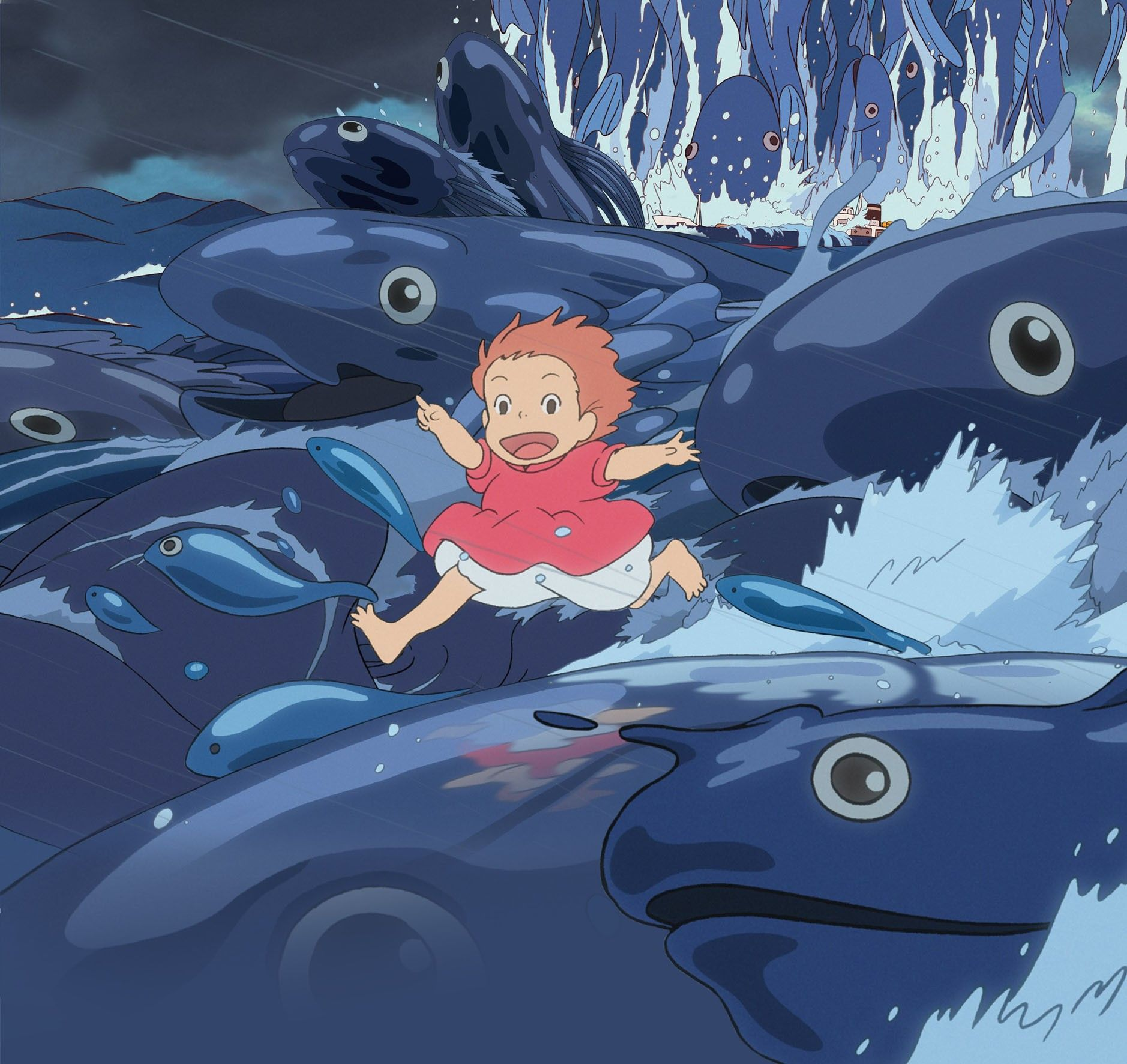 Ponyo in the waves would make a great lower border around the wrist! Sousuke on his little boat would be a great addition, on the inside of the wrist for instance.