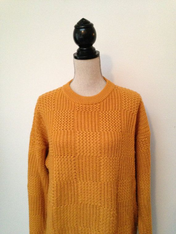 Vintage Harbour Classics Mustard Yellow Oversized Knit Sweater ...