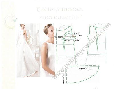 Patron de vestido de novia corte princesa