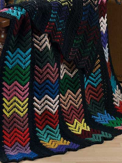 Black Ripple Afghan Crochet Pattern Download From E Patternscentral