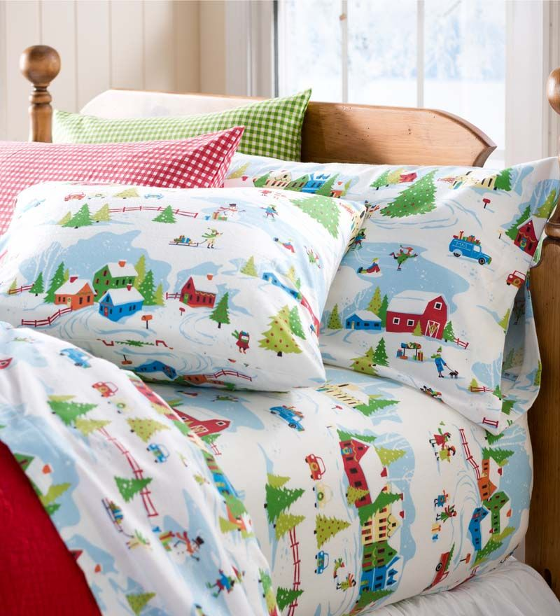 Winter Wonderland Portuguese Cotton Flannel Sheet Set I Love
