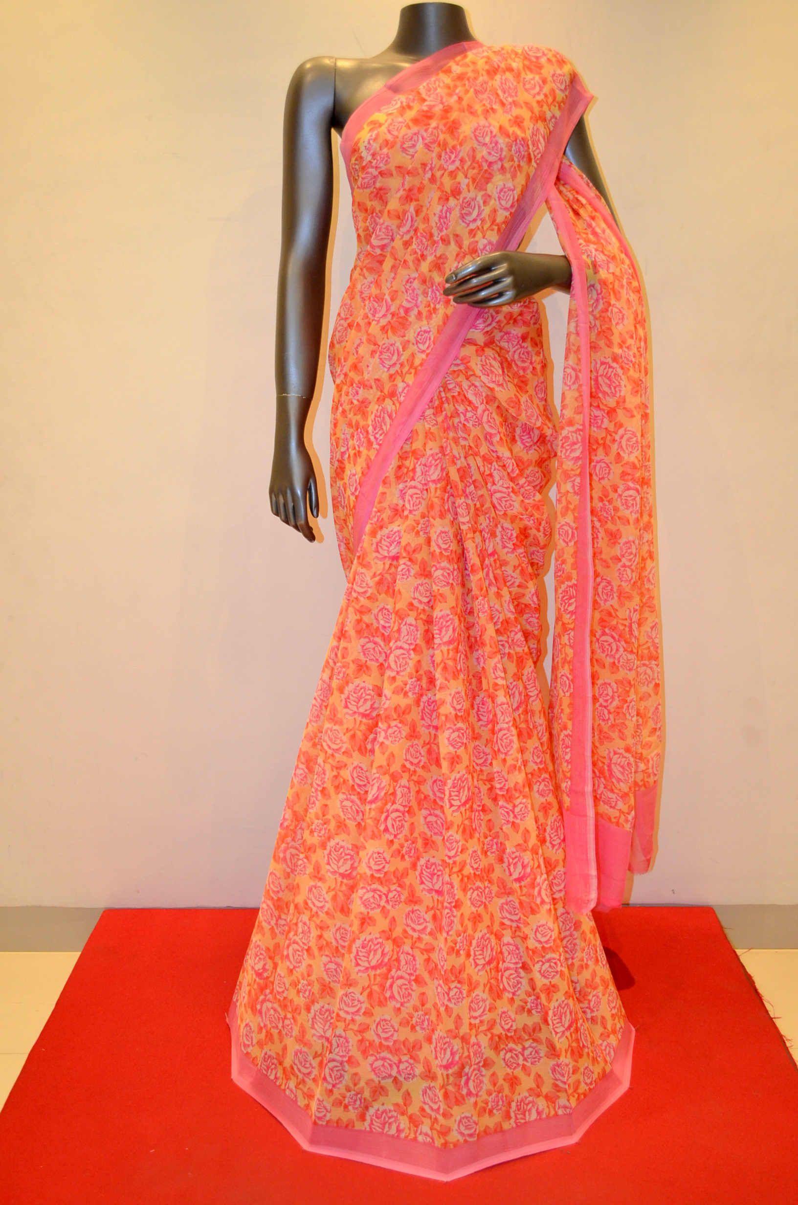 Yellow With Pink Printed Pure Silk Chiffon Product Code: AB202202 Online Shopping: http://www.janardhanasilk.com/Saree-Collections/Chiffon-Silk-Sarees/Yellow-With-Pink-Printed-Pure-Silk-Chiffon?limit=25
