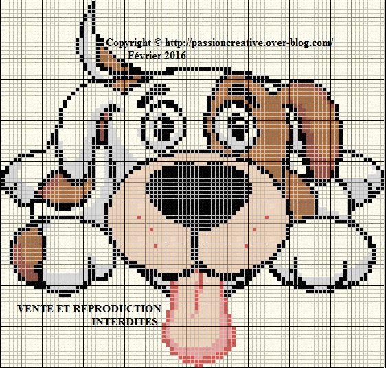 Grille gratuite point de croix  Chien Crazy dog Cross stitch
