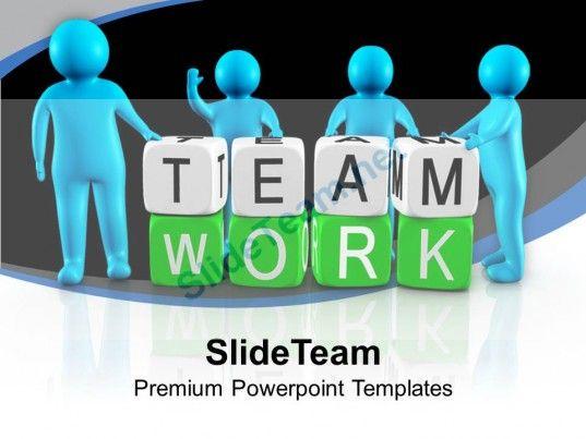 3d men working as team teamwork powerpoint templates ppt themes, Modern powerpoint