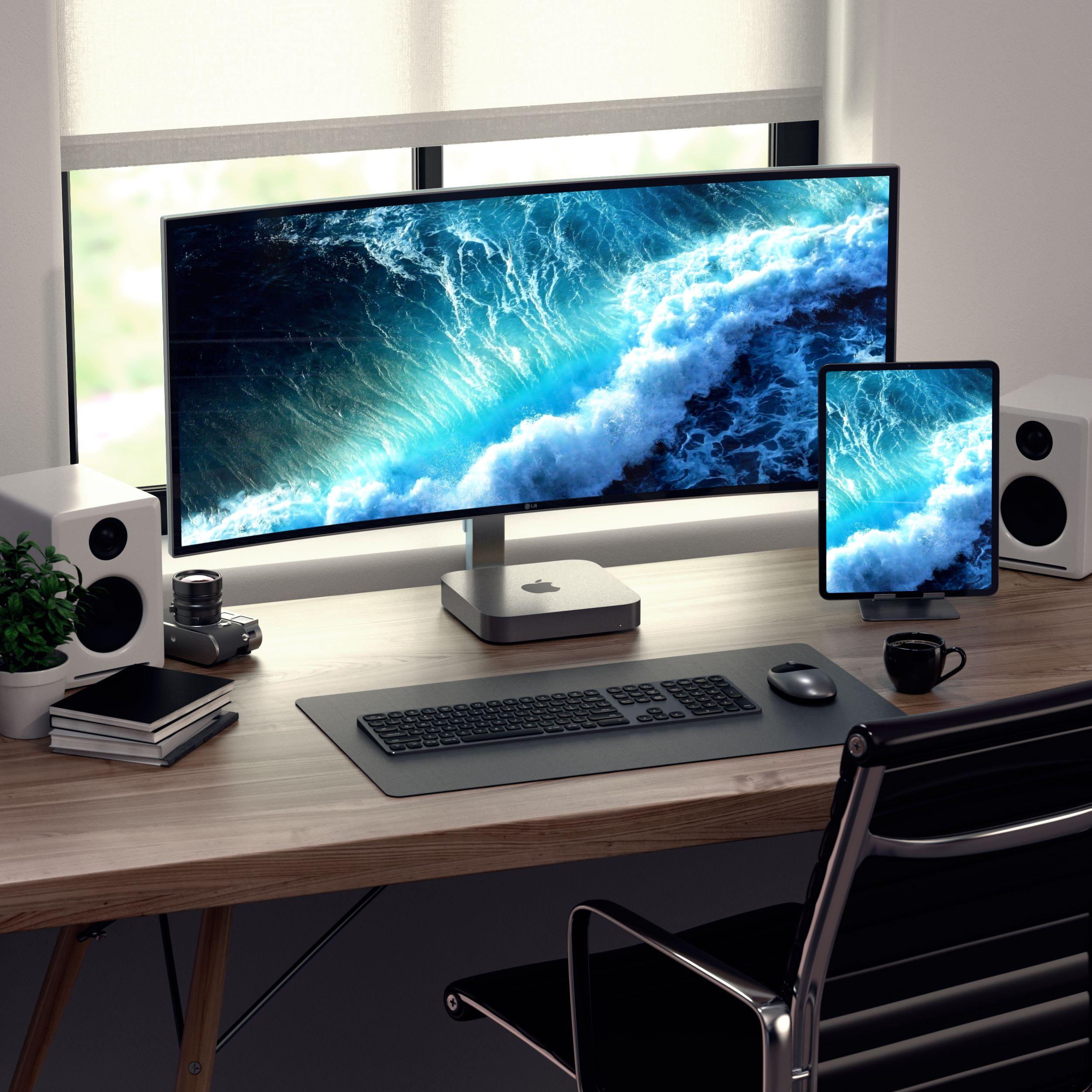 Aluminum Bluetooth Keyboard Desk Setup Computer Desk Setup