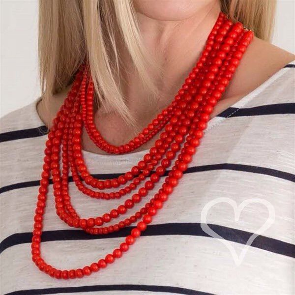 Ciara Red Layered Bead Necklace