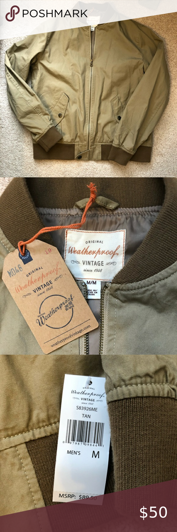 Original Weatherproof Vintage Full Zip Jacket Never Worn New With Tags Size M Repels The Elements Provides F Zip Jackets Jackets Vintage Jacket