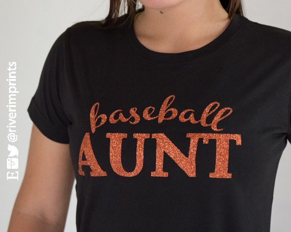 6e9649228 Show your BASEBALL AUNT pride in this sparkly tee shirt, with your choice  of glitter color! This LAT Fine Jersey T-Shirt has a relaxed fit that's  perfect ...