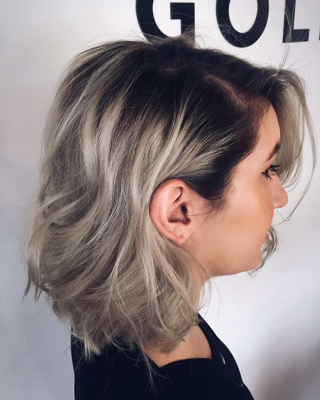 Ashy Blonde And Dark Roots Dark Roots Hair Silver Ombre