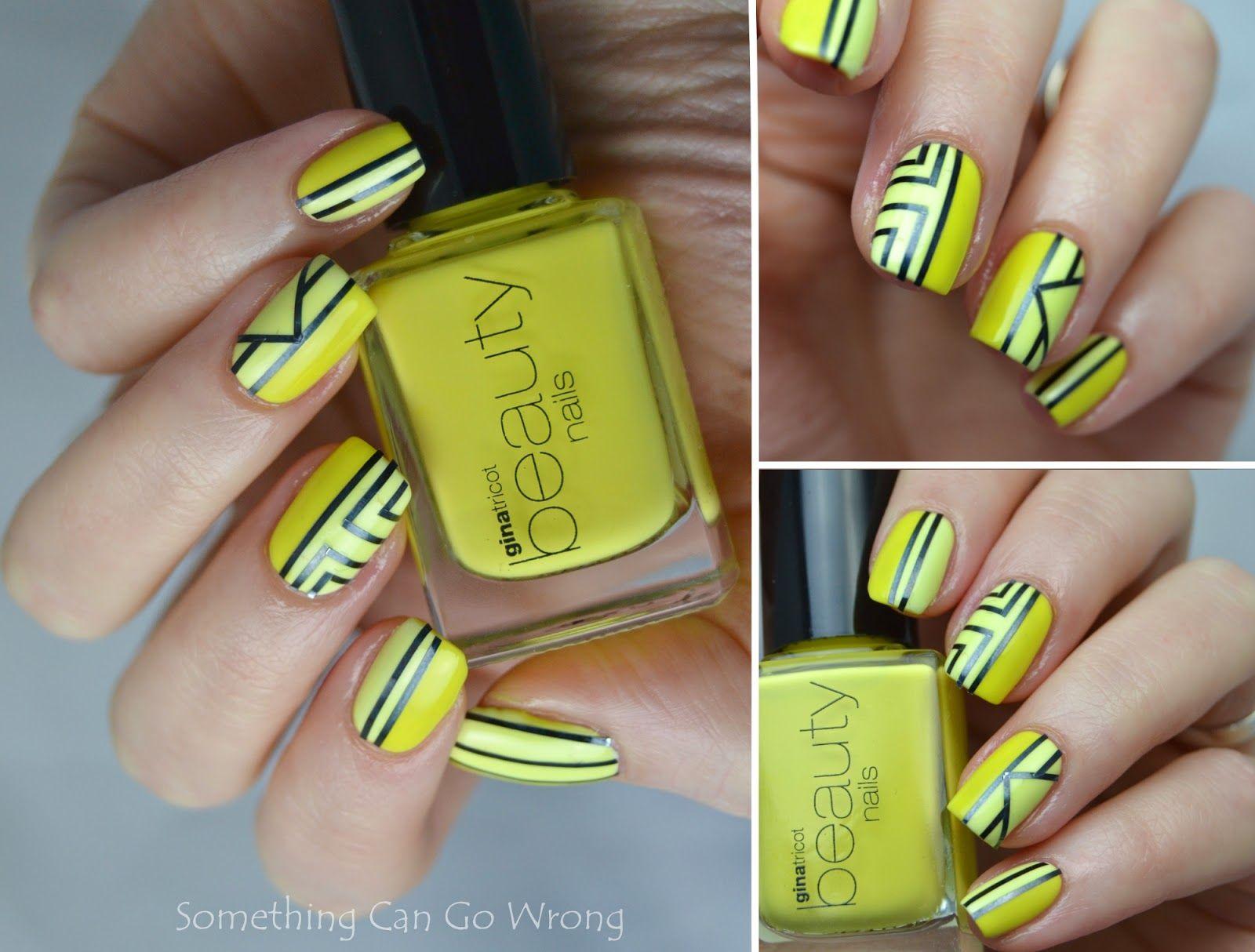 Yellow nail tape mani