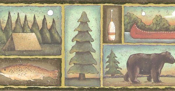 Northwoods Lodge Camping Bears Wallpaper Border Bear