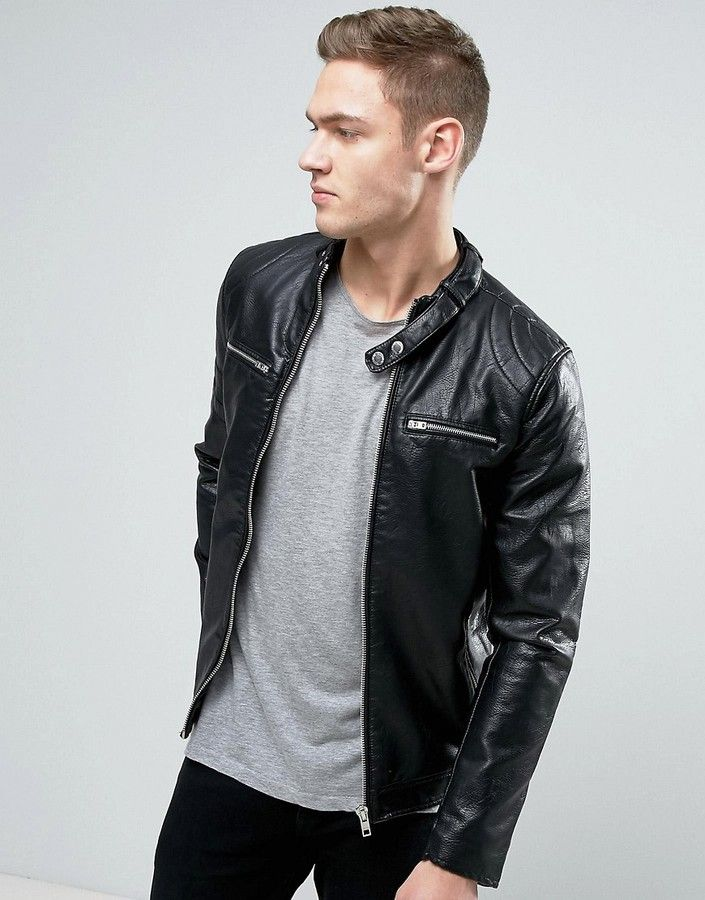 classic styles many styles best sneakers Pull&Bear Faux Leather Biker Jacket With Zips In Black ...