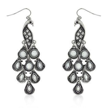 Amazon.com: Antique Rhodium Plated Peacock Earrings with Clear Crystal Accents: Jewelry