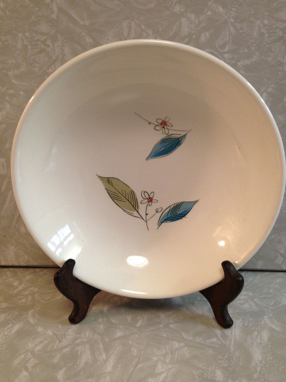 Salem China Biscayne Serving Bowl 9\  / HTF / Royal Windsor / Retro Turquoise Dinnerware Replacement & Salem China Biscayne Serving Bowl 9\