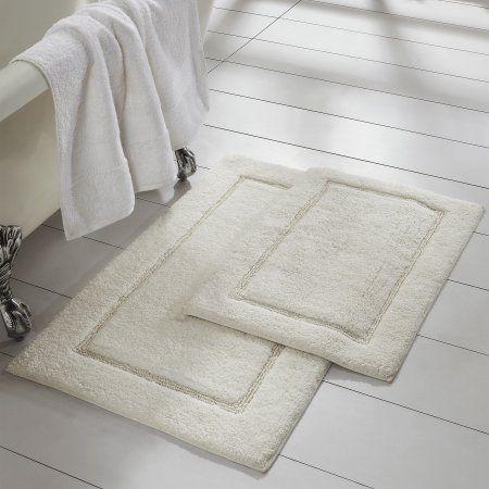 2 Pack Non Slip Soft Cotton Bath Rug Set Bath Mat Sets Bath Mat