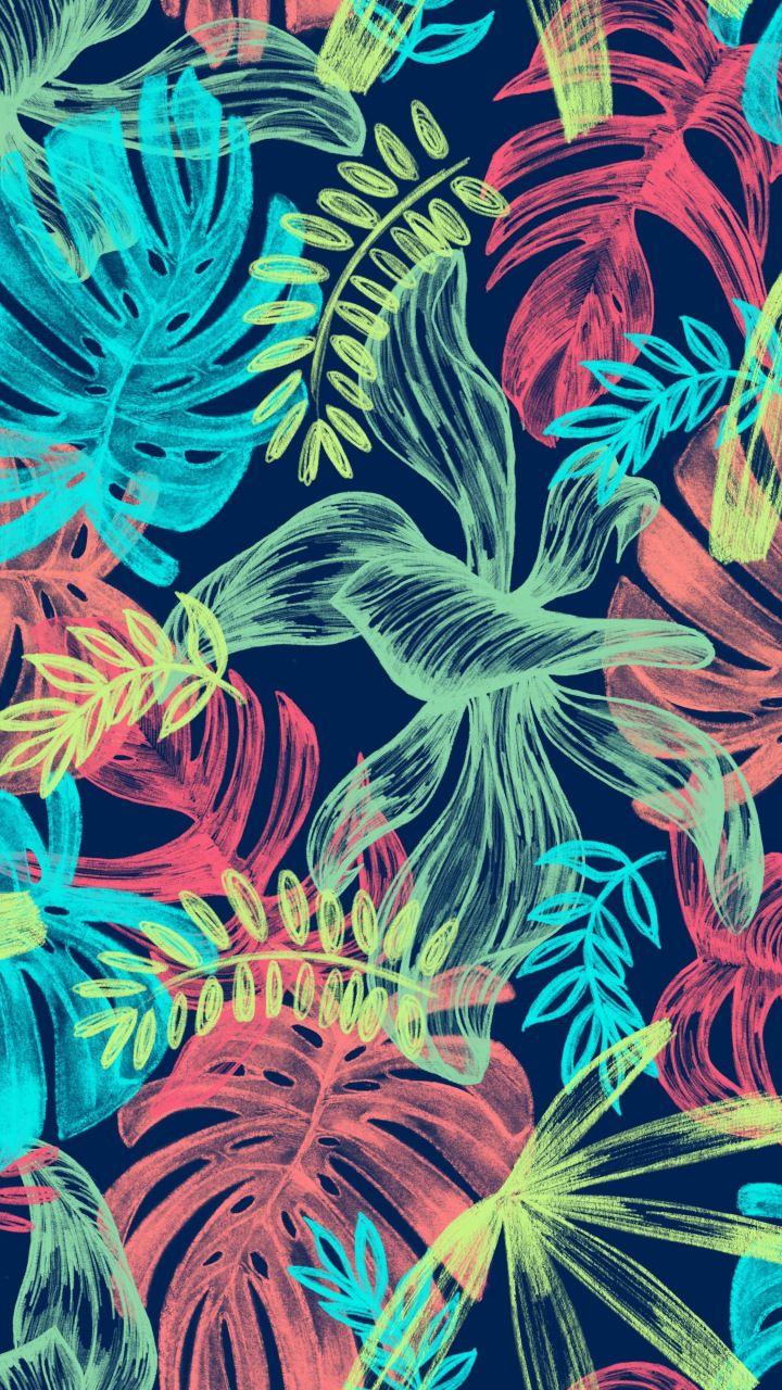 Illustration, digital art, leaf, colorful, 720x1280