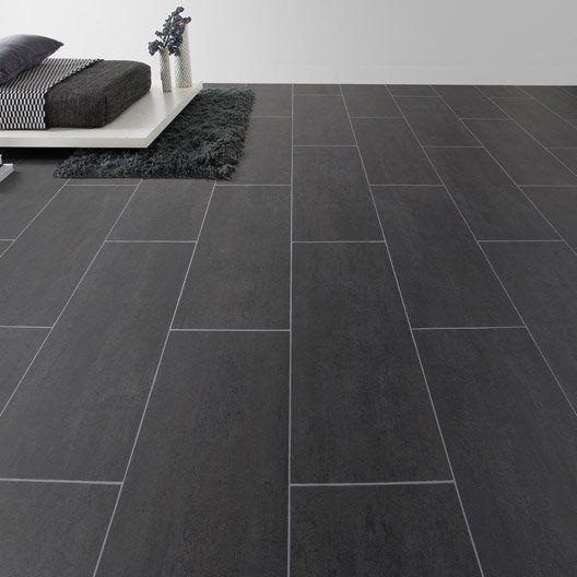 Sol vinyle Aerotex béton Melbourne noir, 4 m Bureau Pinterest - plafond pvc pour salle de bain