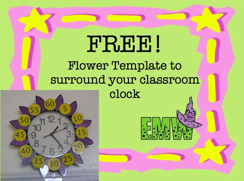 Flower Clock to help tell time Classroom clock, Math and School - minute templates free