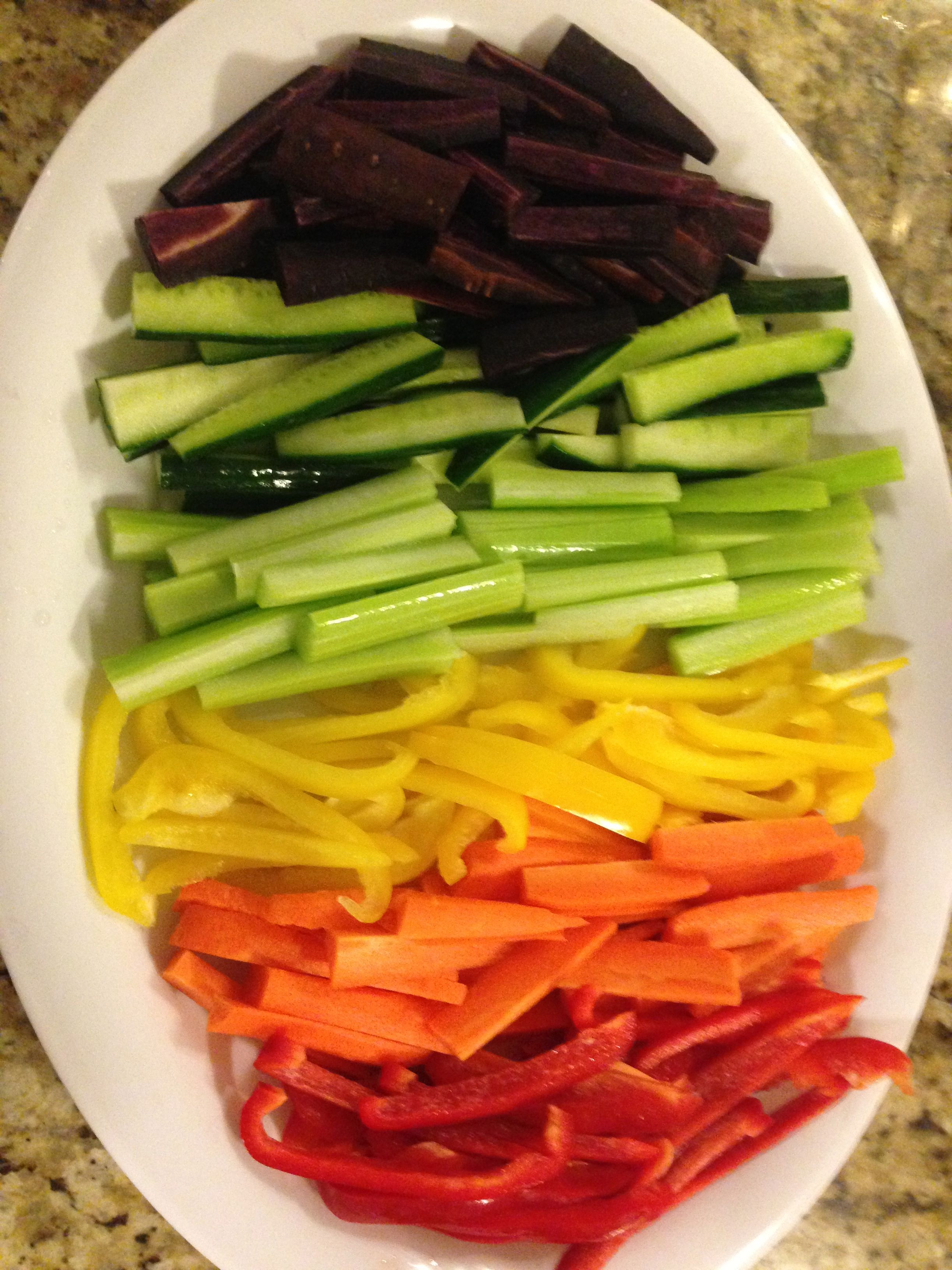 Healthy Hors' Devours - Rainbow Veggie Tray:  Purple Carrots, Cucumber, Celery, Yellow Pepper, Orange Carrots, and Red Peppers
