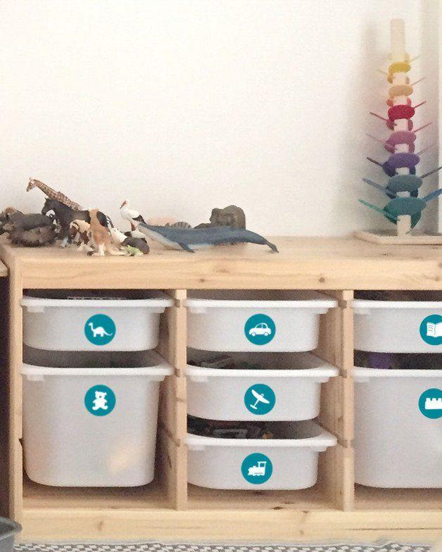 Ordnungssticker für Spielzeugboxen - Weiß/Petrol | Aufräumen ...