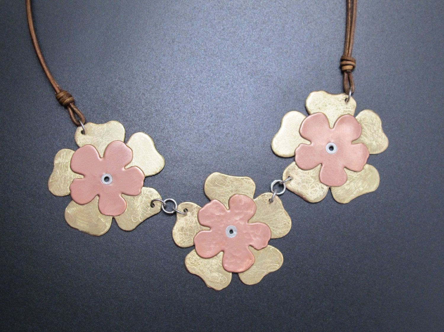 flower necklaces metal kacy flowers buy online golden product kacyworld necklace at com