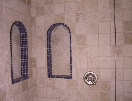 I Like The Use Of Small Tiles To Create The Arch For The Niche Small Tiles Basement Bedrooms
