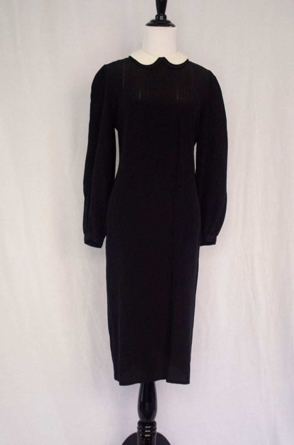 Vintage 1960's 'Madeline' Black and White Silk Shift Dress Size S - M by BeehausVintage on Etsy