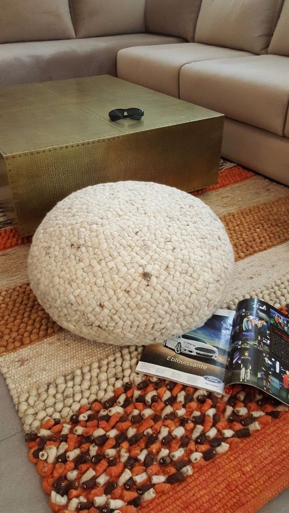 ottoman for living room%0A Handmade      wool Casual Living room decorative footstool Round Ottomans  Pouf  Handmade  Moroccan