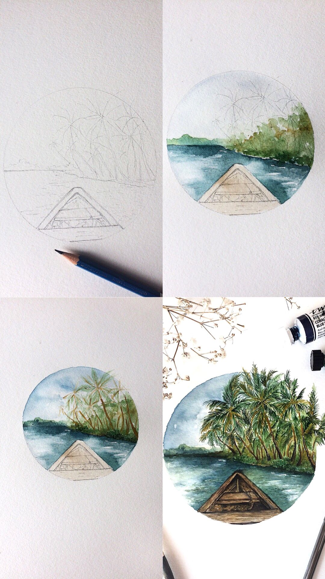 Mini step by step watercolor landscape painting tutorial