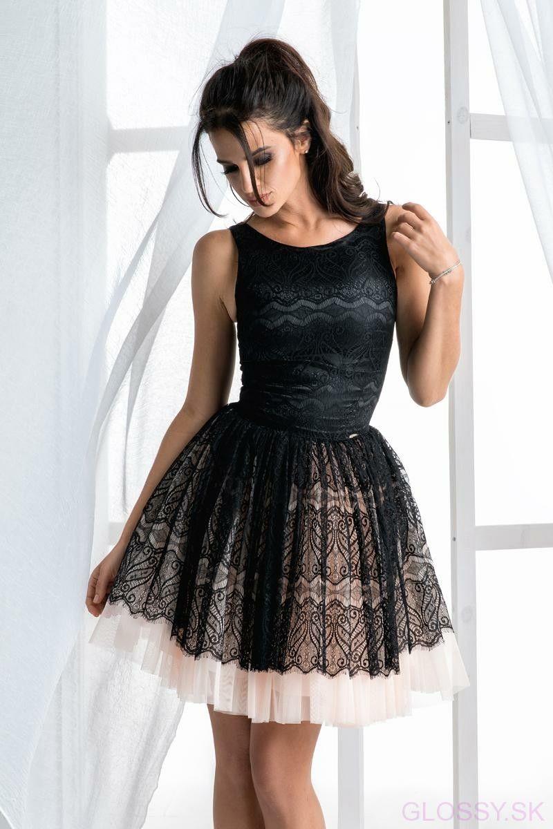 d47e255a542b Elegantné čierne šaty s tylovou sukňou. Vrch šiat je z jemnej krajky ...