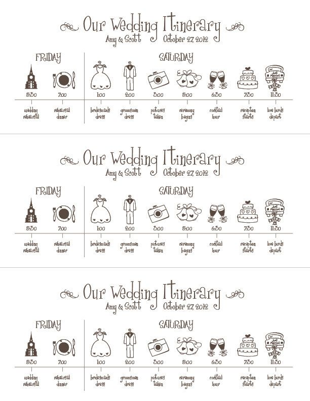 Printable Wedding Timeline Schedule Itinerary by pompdesigns - wedding weekend itinerary template