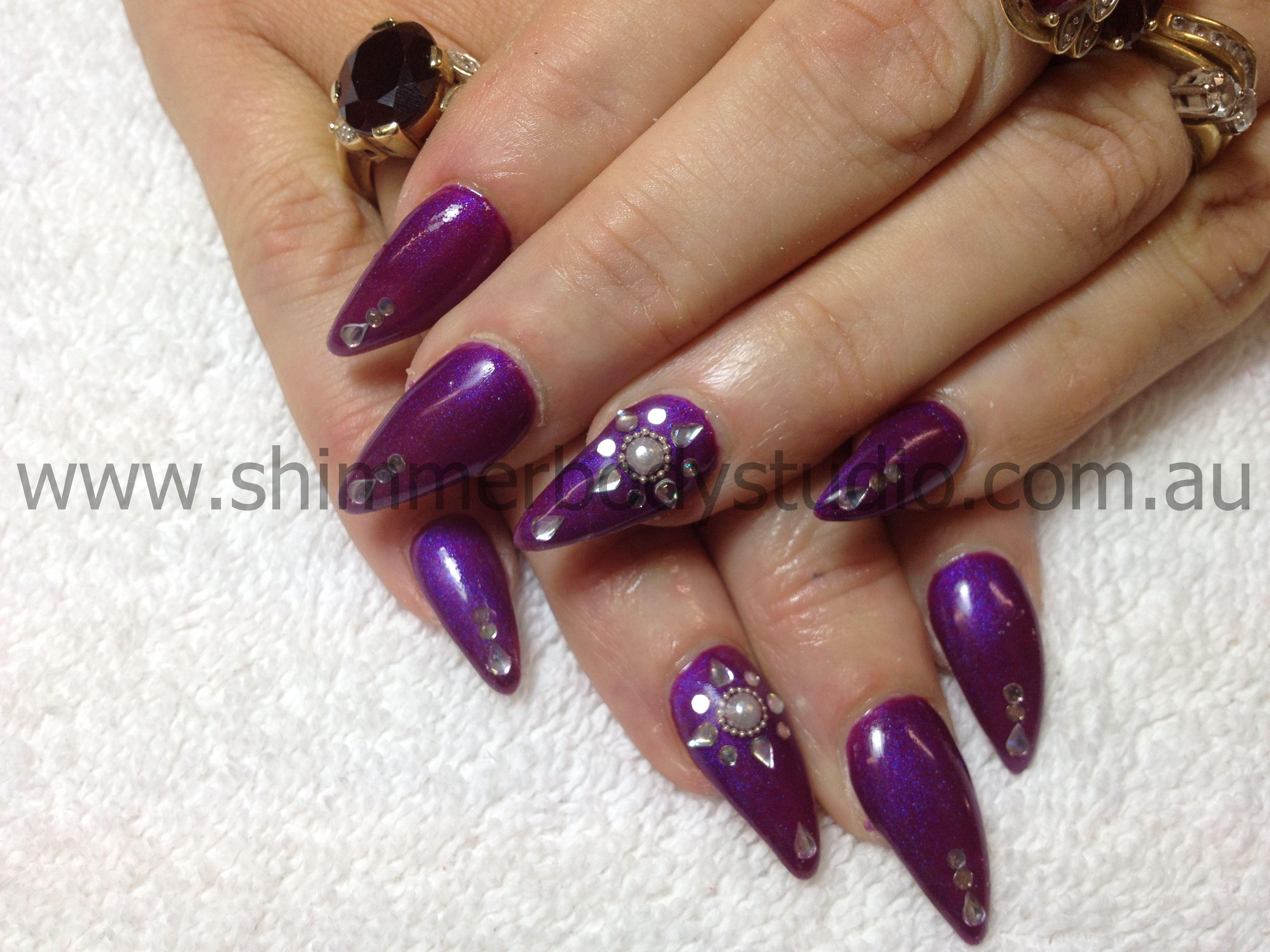Gel Nails, Gel Polish, Purple Nails, Nail Art, Crystals, Diamante ...