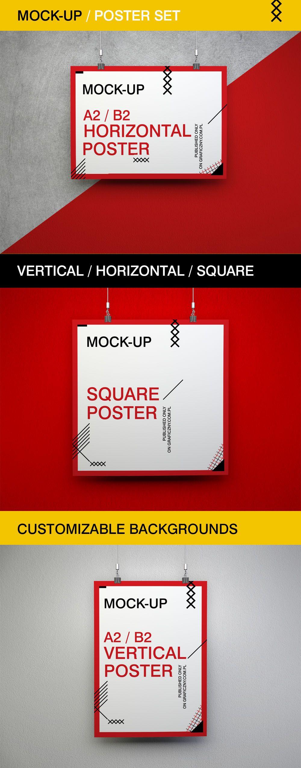 Free Poster Ser Mockups Poster Mockup Mockup Free Psd Mockup Design