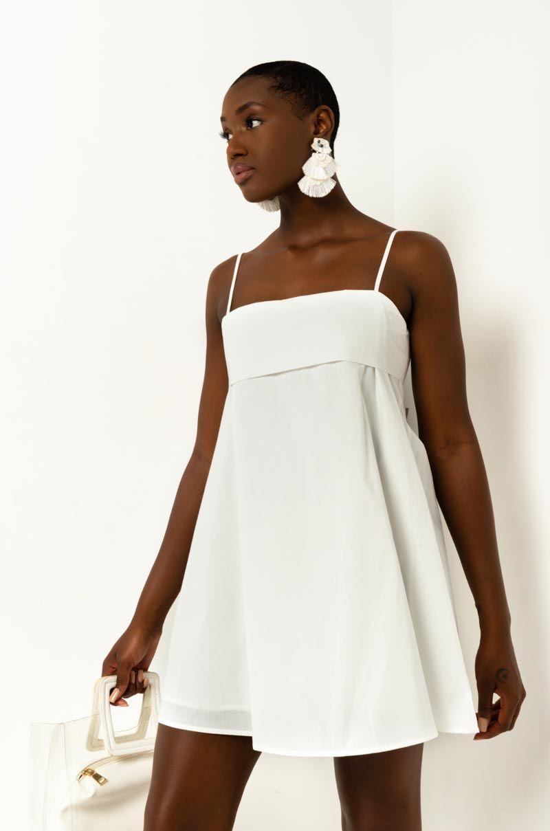 Akira Label Mini Trapeze Dress With Tie Back Accent In White Mini Dress Dress With Tie Trapeze Dress [ 1209 x 800 Pixel ]
