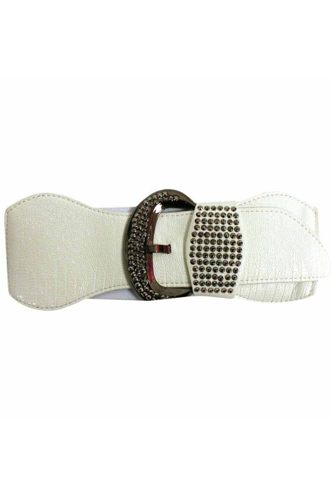 White Wide Elastic Stretch Belt With Stones