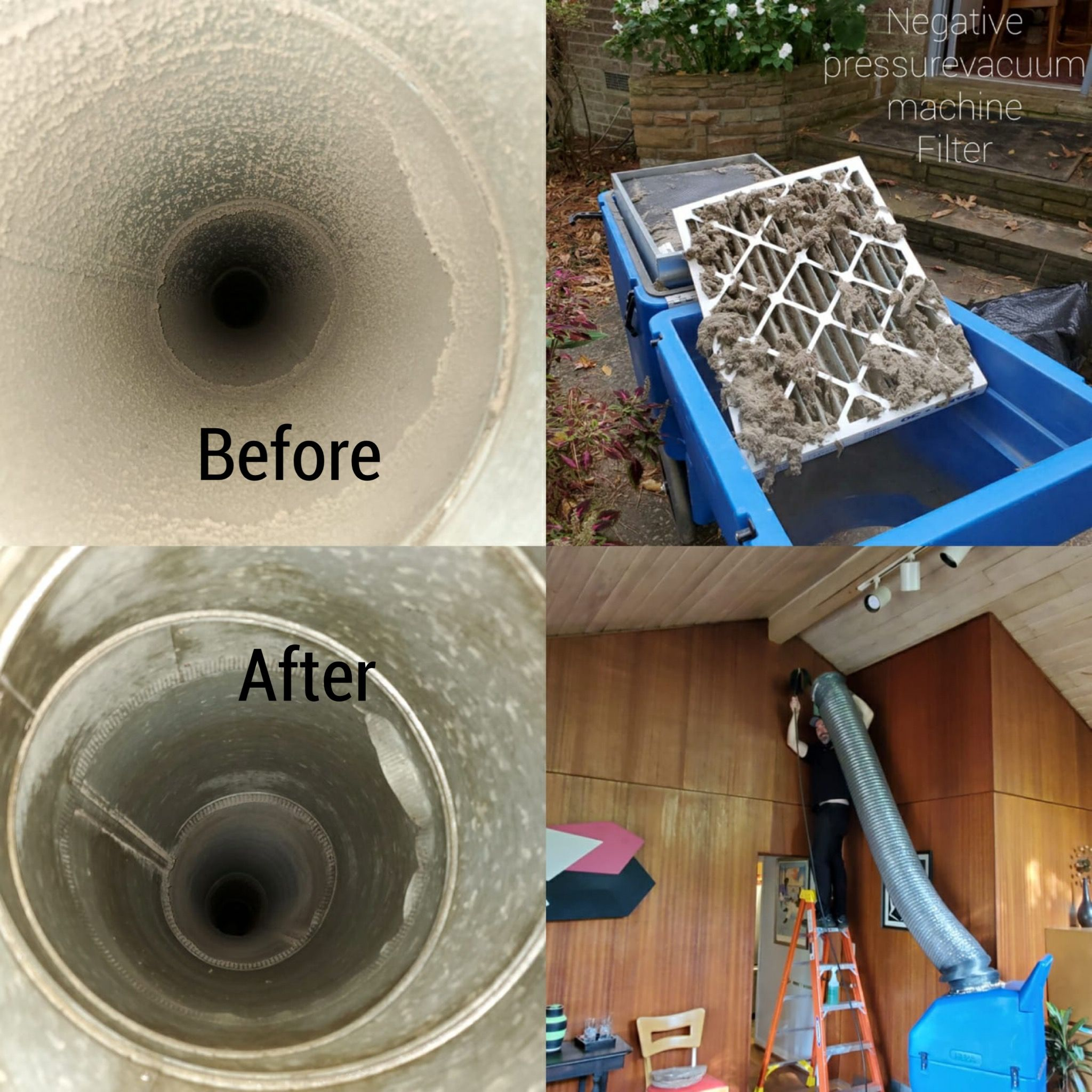 Pictures of before and after air duct cleaning with